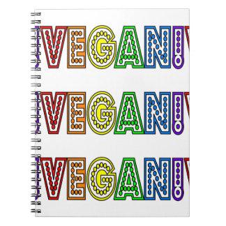 Cuaderno del logotipo del arco iris del vegano