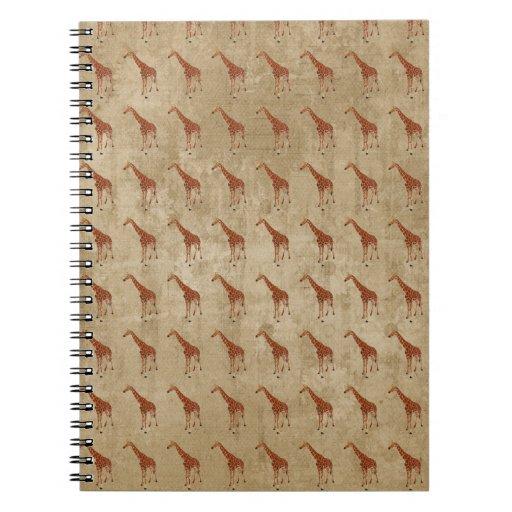Cuaderno del modelo de las jirafas del vintage