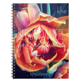 Cuaderno del monograma de la floración