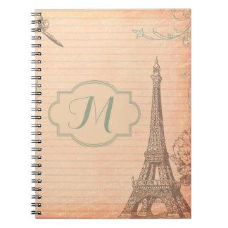 Cuaderno del monograma de Shabb de la torre Eiffel