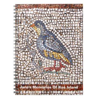 Cuaderno del mosaico del pájaro de Kos