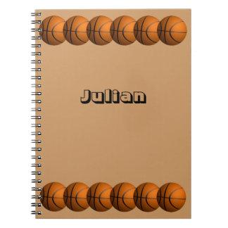 Cuaderno del nombre personal de la fila de la bola
