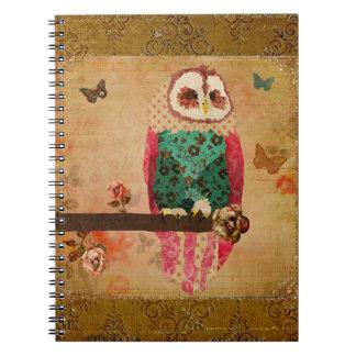 Cuaderno del oro del búho de Rosa