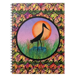 Cuaderno del pájaro de la puesta del sol