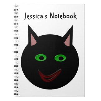Cuaderno del personalizable del gato negro de Hall