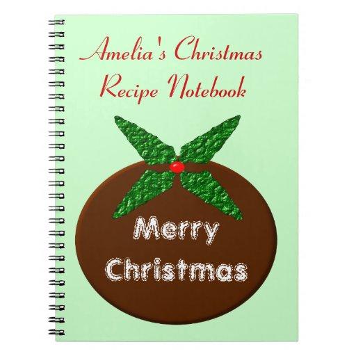 Cuaderno del personalizable del pudín del navidad