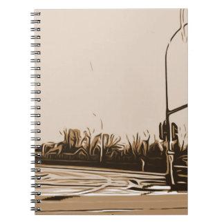 cuaderno del phtograph de la escena de la calle de