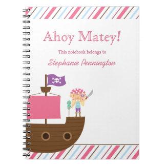 Cuaderno del pirata del chica rosado lindo persona