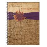 Cuaderno del planificador del boda de la arpillera