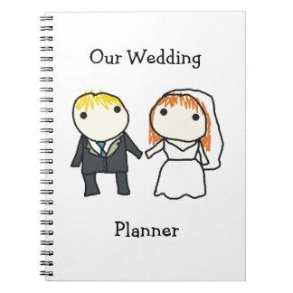 Cuaderno del planificador del boda del dibujo anim
