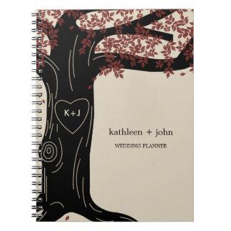 Cuaderno del planificador del boda del roble - roj
