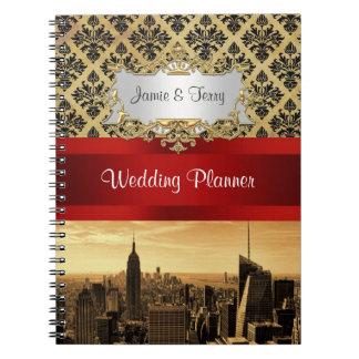Cuaderno del planificador del damasco de la sepia