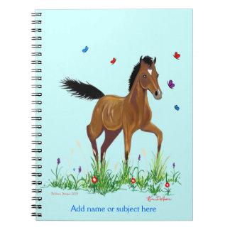 Cuaderno del potro y del Equestrian de las maripos