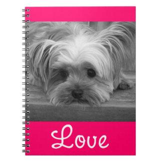 Cuaderno del rosa del perro de perrito de Yorkshir