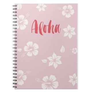 Cuaderno del rosa en colores pastel de Hawaii de