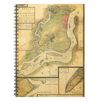Cuaderno del siglo XVIII del mapa de Philadelphia