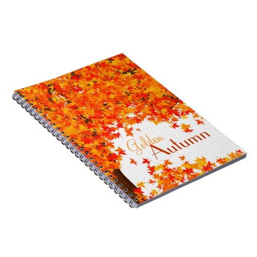 Cuaderno del tema de la caída - hojas de otoño de