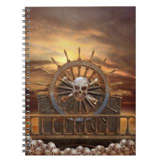 Cuaderno del timón del cráneo del pirata