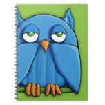 Cuaderno del verde 2 del búho de la aguamarina