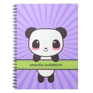 Cuaderno/diario personalizados de la panda de Kawa