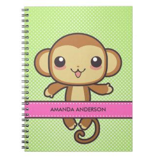 Cuaderno/diario personalizados del mono de Kawaii Libreta Espiral