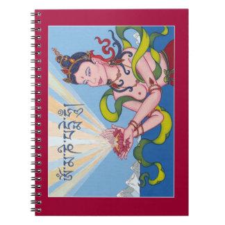 CUADERNO - diosa de ofrecimiento con Lotus y mantr