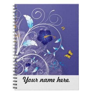 Cuaderno--Diseño floral con las mariposas Libro De Apuntes Con Espiral