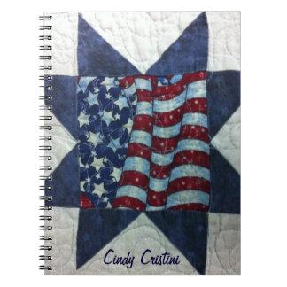 Cuaderno - diseño patriótico del edredón de la ban