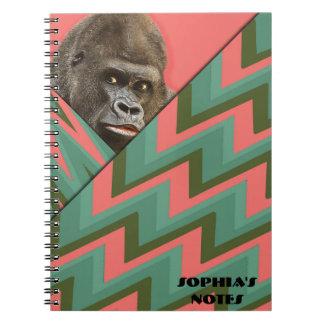 Cuaderno divertido de Chevron del verde del rosa