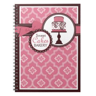 Cuaderno dulce del negocio de la torta