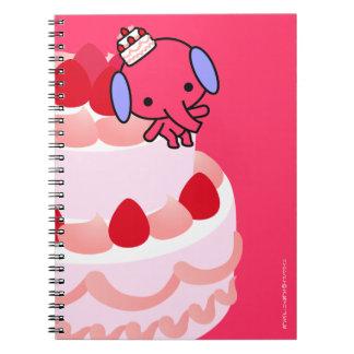 Cuaderno - elefante de la torta - rosa