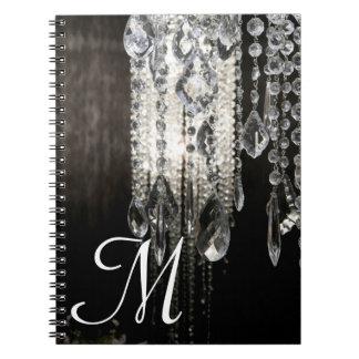 Cuaderno elegante de la inicial del monograma de