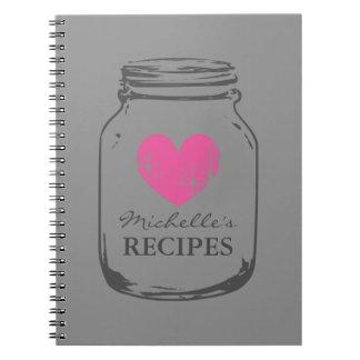 Cuaderno elegante de la receta del tarro de