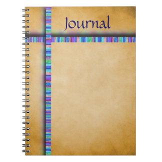 Cuaderno en colores pastel de la cinta y del perga