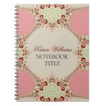 Cuaderno en colores pastel rosado del cordón
