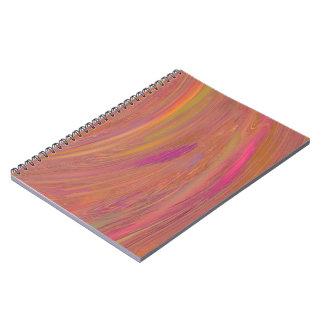 Cuaderno espiral abstracto anaranjado y rosado