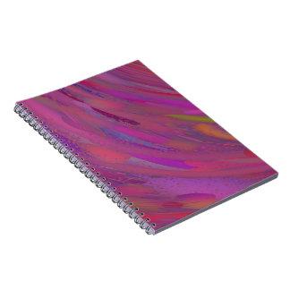 Cuaderno espiral abstracto púrpura y rosado