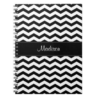 Cuaderno espiral blanco negro personalizado de