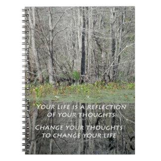 Cuaderno espiral con cita inspirada
