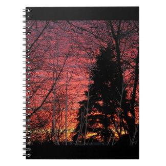 Cuaderno espiral con puesta del sol