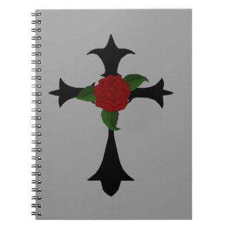 Cuaderno espiral cruzado tribal negro