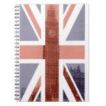 Cuaderno espiral de Big Ben de la bandera británic