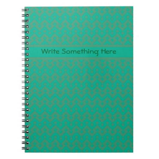 Cuaderno espiral de encargo, verde esmeralda geomé