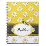Cuaderno espiral de la abeja amarilla de la margar