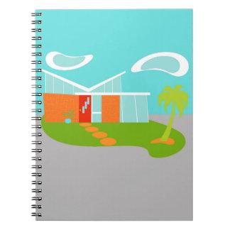 Cuaderno espiral de la casa moderna del dibujo