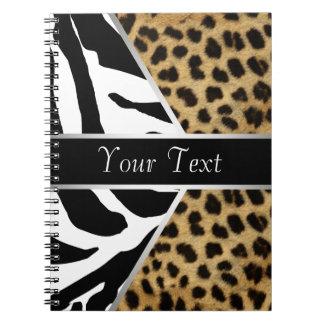 Cuaderno espiral de la cebra negra del leopardo