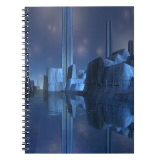 Cuaderno espiral de la ciudad extranjera azul del