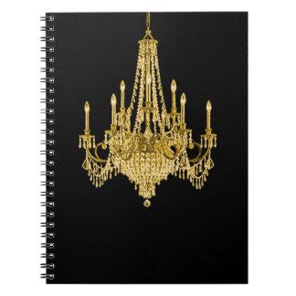 Cuaderno espiral de la lámpara negra del oro