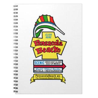Cuaderno espiral de la muestra de la playa de Pens