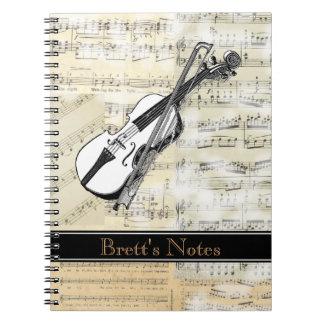 Cuaderno espiral de la música del violín del vinta